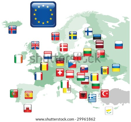Set of flags.Raster version of vector illustration. - stock photo