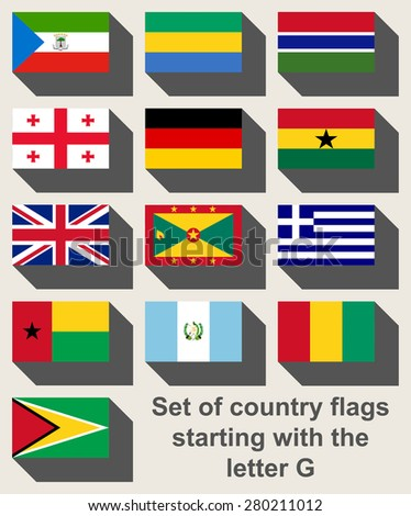 Set of flags starting with the letter G in flat web design style. - stock photo