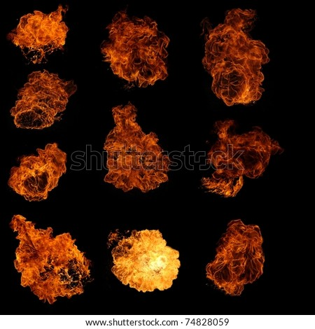 set of flames - stock photo