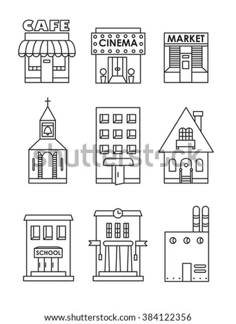 Set Vector Flat Black White Icons Stock Vector 366329660