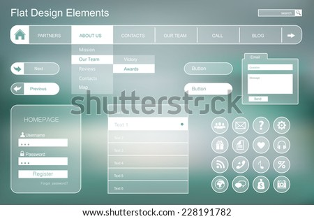 Set of flat buttons for web site and mobile application. Ui Application (app) - stock photo
