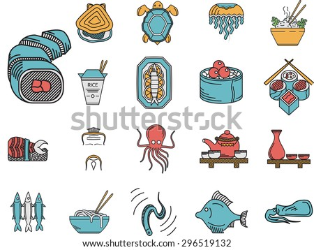 Set of flat color design icons for asian seafood menu on white background. - stock photo