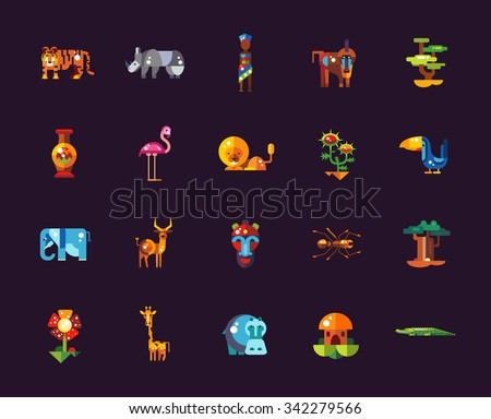 Set of flat design african icons and infographics elements with animals - stock photo