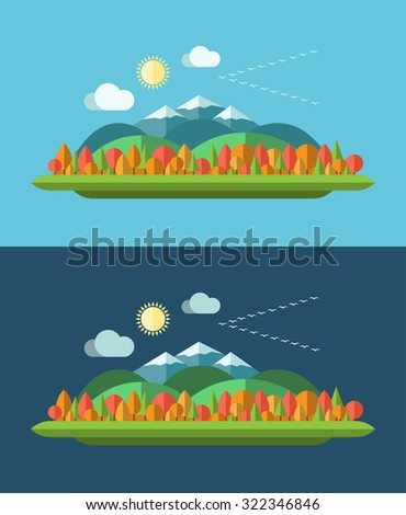 Set of flat design autumn nature landscape background illustrations. Sun, hills, moutains, trees, clouds and bird flock on trendy light and dark backgrounds. Rasterized copy - stock photo