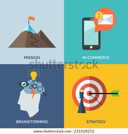 Set of flat design concept icons for business. Mission, M-commerce, Brainstorming and Strategy. - stock photo