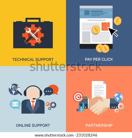 Set of flat design concept icons for business. Technical support, Pay per click, Online support and Partnership.  - stock photo