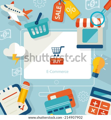 Set of flat design concept icons for online shopping. Icons for online shop, add to bag, payment methods and delivery. Raster copy. - stock photo