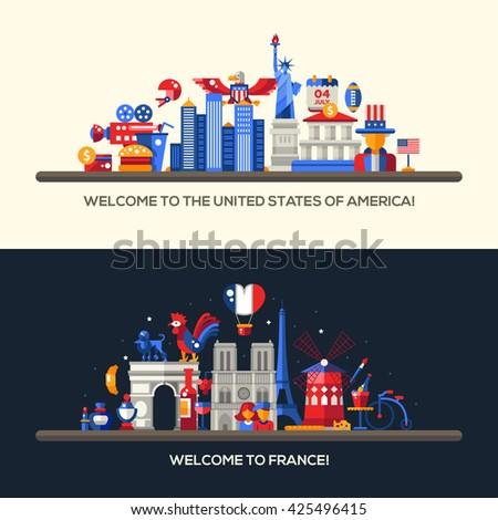 Set Flat Design France Usa Travel Stock Illustration 425496415