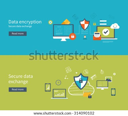 Set of flat design illustration concepts for data protection, data encryption and secure data exchange. Concepts for web banners and printed materials. - stock photo