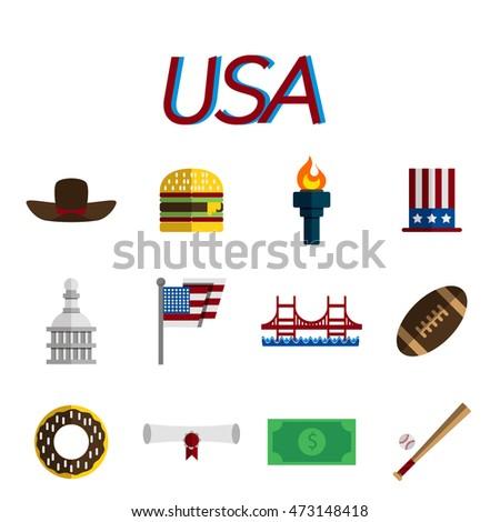 Set Flat Design Usa Travel Icons Stock Illustration 473148418