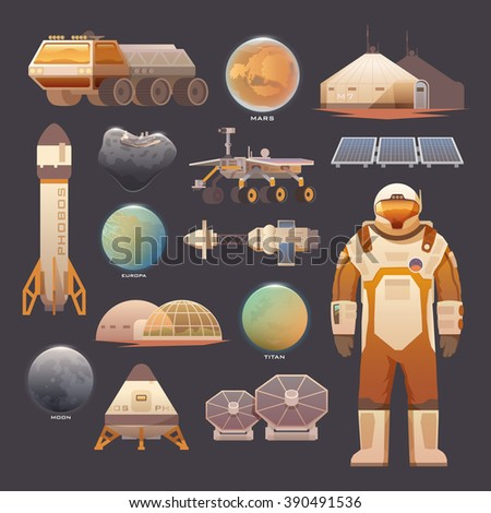 Set of flat elements on the theme of astronomy, space exploration, colonization of Mars, moon, Europa and Titan. Space adventure. The first colonies. Terraforming. Modern flat design. - stock photo