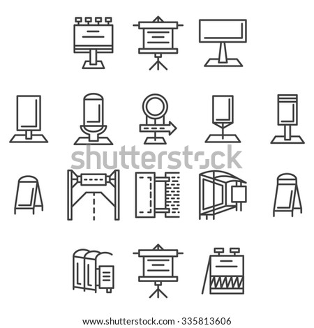 Set of flat line icons for outdoor advertising elements. Signboards, billboard, light box, road sign, banners and other objects for business or website - stock photo