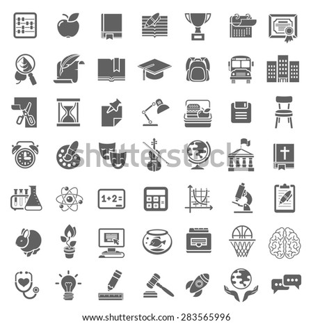 Set of flat monochrome silhouette vector icons of school subjects, education and science symbols - stock photo