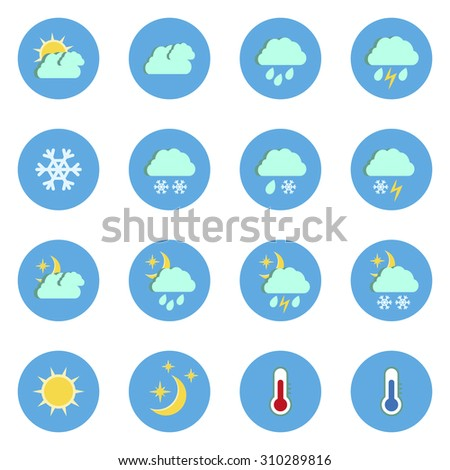 Set of flat weather icons isolated on white background.Raster copy. - stock photo