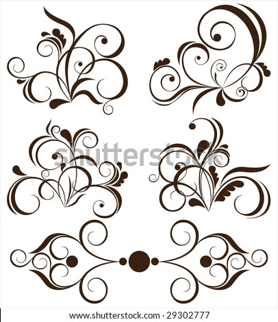 set of floral design elements (look for vector version in my portfolio)
