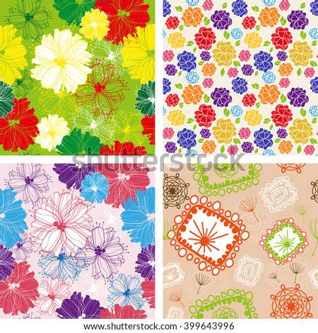 Set of Floral seamless patterns with abstract flowers. Flower seamless pattern. Flower seamless pattern jpeg