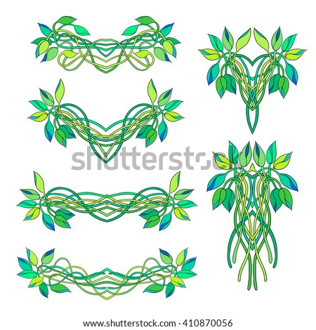Set of floral vignettes and bouquets isolated on white background. Twisted stems and buds of Tradescantia. Perfect for greetings, invitations, announcement, web design.  Raster illustration. - stock photo