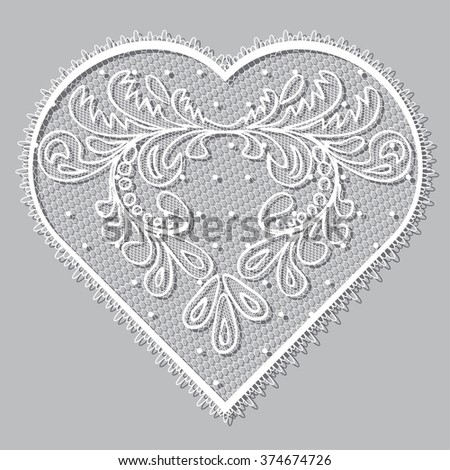 Set of floral vintage frame lacy hearts shapes with hand drawn floral ornaments. Love concept for Valentines Day or Wedding design, white lace heart , isolated on grey background raster illustration