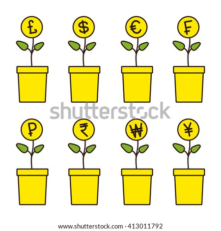 Set of flowerpots with growing money plants. Pound, dollar, euro, frank, ruble, rupee, won, yen, yuan Investment concept. Linear flat style illustration - stock photo