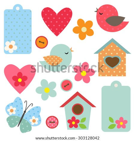 Set of flowers, birds, butterfly and birdhouses. Raster version - stock photo