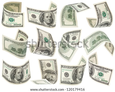 Set of flying 100 dollars banknotes isolated on a white background for collages - stock photo