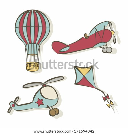 Set of flying icons - raster version - stock photo