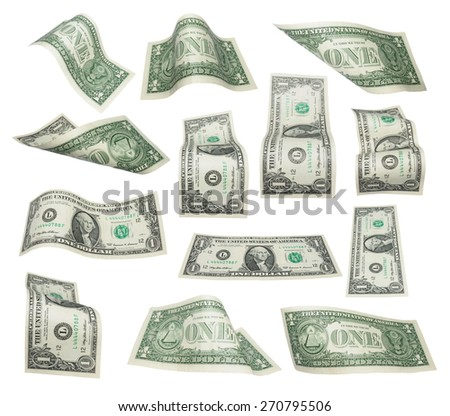 Set of flying one dollars banknotes isolated on white background,  with clipping path, (high resolution) - stock photo