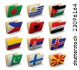 Set 5 of folders icons with world flags. Isolated raster version (contain the Clipping Path of all objects) - stock photo