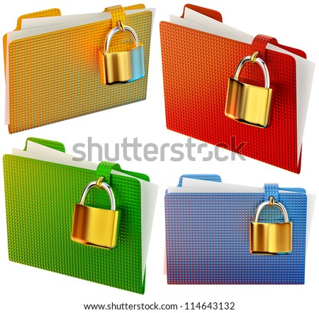 set of folders with golden hinged locks stores confidential documents - stock photo