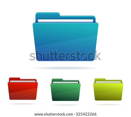 Set of Folders with papers. - stock photo