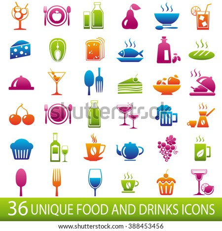 Set of 36 food and drinks icons. Food and drinks icons. Food and drinks icons illustration. Food and drinks icons jpeg