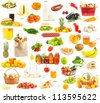Set of food and drinks on white background - stock photo