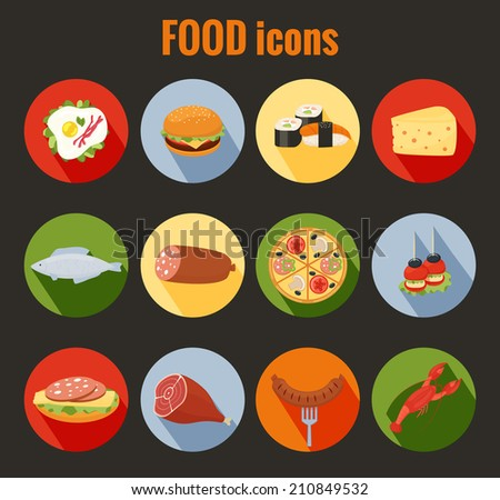 Set of food icons on colorful round buttons depicting roast meat  fish  egg  cheeseburger  pizza  cheese  salami  sandwich  sausage and lobster for use as design elements in menus - stock photo