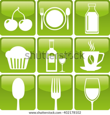Set of food icons: spoon, fork, glass, bakery, coffee, dairy, cherry and wine. Food and drink icons jpg. Food and drink organic. Food and drink Logo set - stock photo