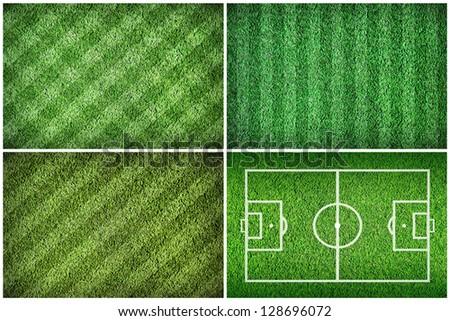 Set of football green grass fields - stock photo