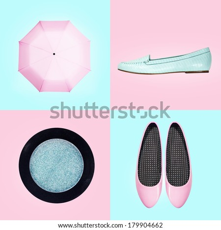 set of footwear and accessories for women - stock photo