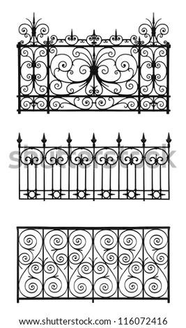 Set of forged decorative lattices isolated on white background - stock photo