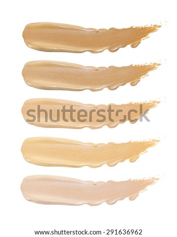 Set of foundation swatches isolated on white background - stock photo