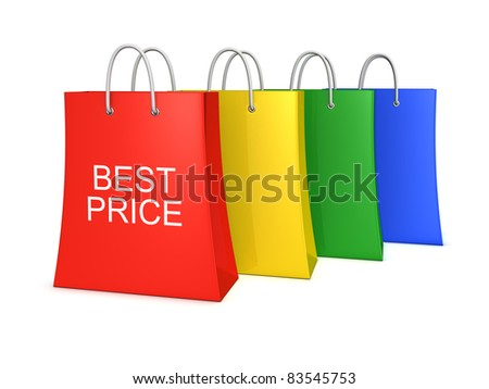 Set of four best price shopping bags. Isolated on the white background - stock photo