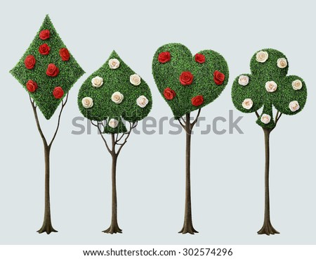 Set of four bizarre trees with card suits and roses  - stock photo