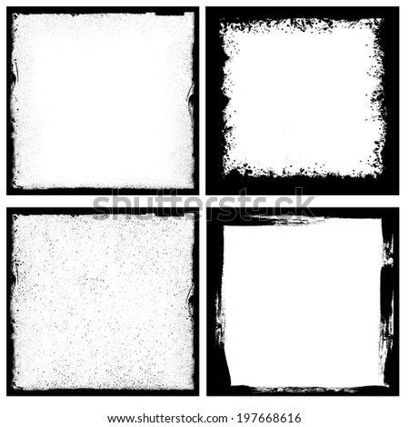 Set of four black grunge square backgrounds - stock photo