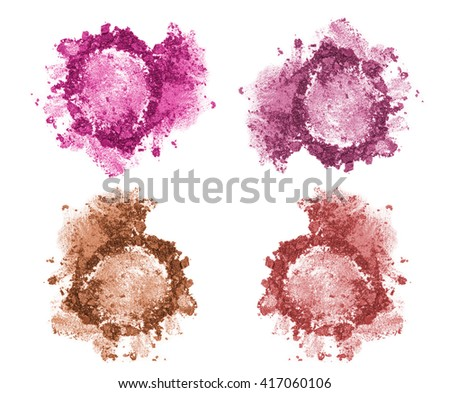 Set of four blushes and face correctors isolated on white. Crushed blushes set in trendy bright colors. Blush and correction powder isolated. Pink purple and brown face correctors concept. - stock photo