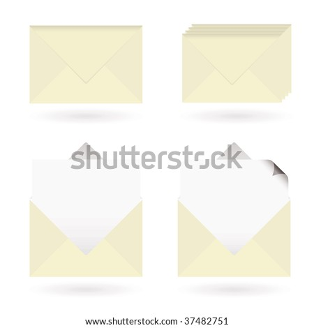 Set of four business icons with envelopes and drop shadow - stock photo