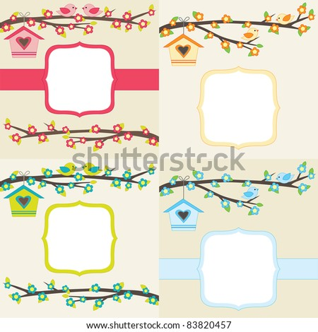 Set of four cards with couples of birds sitting on branches. Raster version. - stock photo