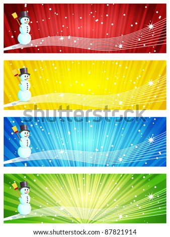 Set of four colorful banners with Snowman
