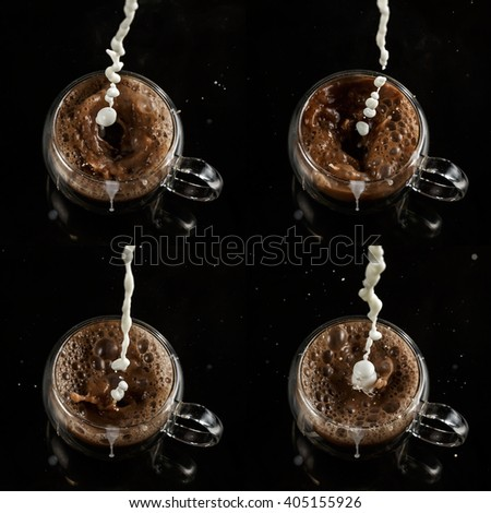 Set of four cups, pouring process of milk into glass cup full of cocoa, splashes, drops and froth around glass cup against black background - stock photo