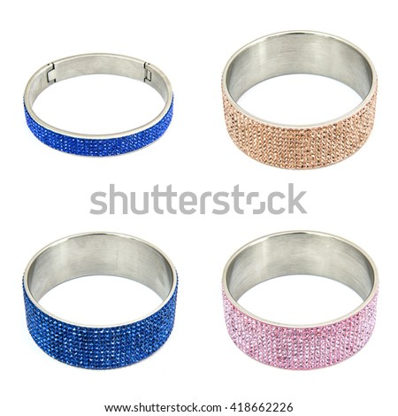 Set of four different color Fashion Bracelets isolated on white - stock photo