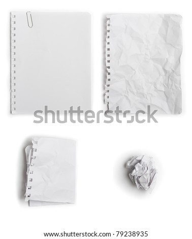 Set of four different state of paper - flat, wrinkled, folded, crumpled - stock photo