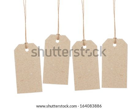 set of four empty tag on waxed cord with space for writing something, isolated on white background - stock photo