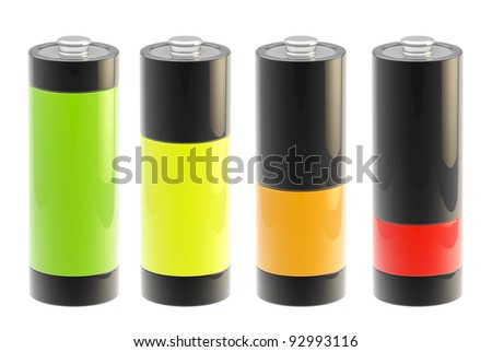 Set of four glossy batteries charging isolated on white